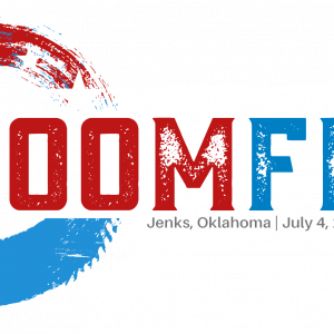 A logo for the Boomfest firework celebration.
